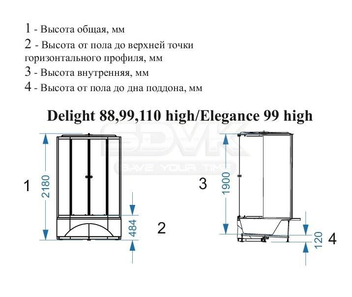 e5b798bf0989 Душевая кабина Domani-Spa Delight 99 high светлые стенки матовые ...