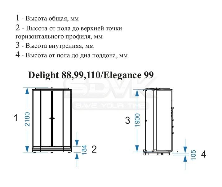 24495417ea8a Душевая кабина Domani-Spa Delight 99 с гидромассажем светлые стенки ...
